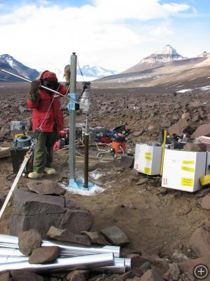 Coring of the underlying glacial ice, Beacon Valley.